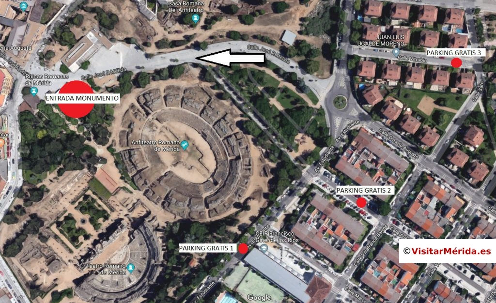 aparcamiento gratis teatro romano merida